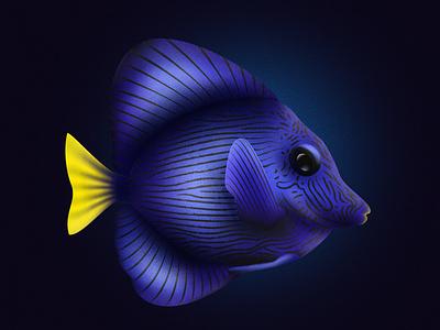 PURPLE TANG FISH design vector shadow noise shadow noise illustrator illustration illustraion fishes fish