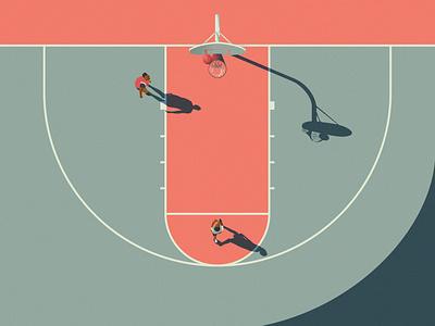 Basketball Vibes top view minimal solid smooth pallete pastel basket training valley summer practise ball basketball noise shadow noise vector illustrator illustration illustraion