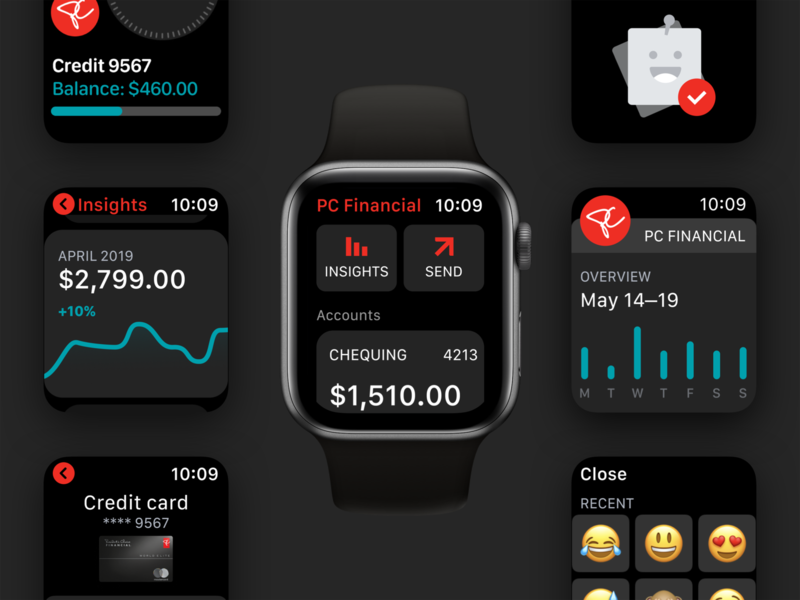 PCF watchOS App – Core Elements ios14 watchos7 ios watchos wearable fintech banking app banking bank financial smartwatch apple watch