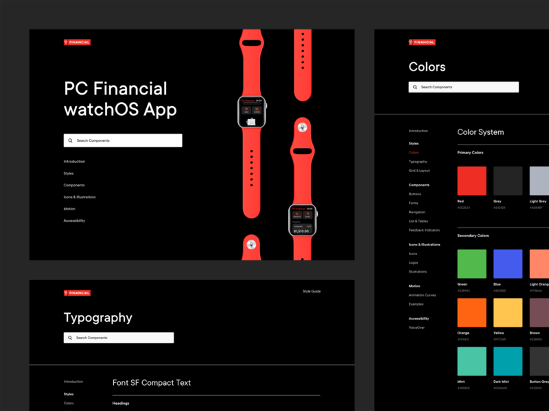 PCF watchOS App – Digital Style Guide designsystems design system designsystem apple watch financial financial app bankapp bank app ios watchos digital branding style guide styleguide
