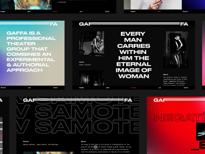 Gaffa Website brutalist brutalism web theatre branding theater website readymag