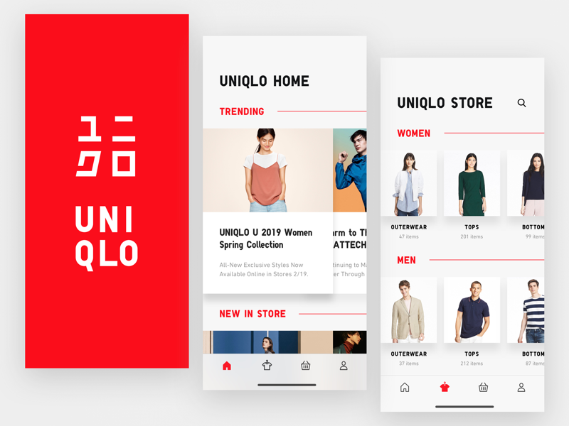 Uniqlo E-Commerce App Exploration redesign interaction fashion iphone mobile uniqlo ui app iphonex ecommerce