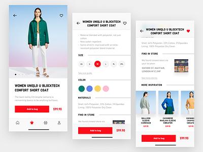 Uniqlo E-Commerce App – Bag Flow Exploration 应用 japanese japan bag ecommerce iphonex ui uniqlo mobile iphone interaction redesign