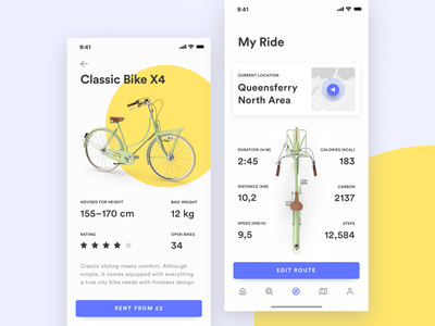 Bike Sharing App dashboard renting bike sharing bicycle iphone x yellow transportation ios 12 应用 自行车 黄色