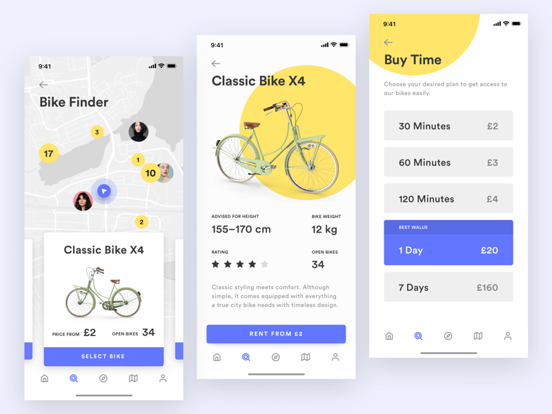 Bike Sharing App – Finding and Renting Your Bike 黄色 自行车 应用 yellow transportation sharing renting iphone x ios data bike bicycle