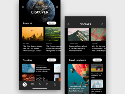 News App – Discover Section article nature earth globe ios12 iphone iphonex publishing magazine reading read news