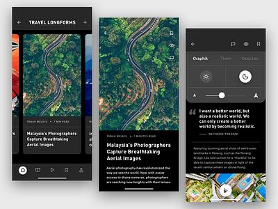 News App – Longform Articles news reading magazine publishing iphonex iphone ios12 globe earth nature read article