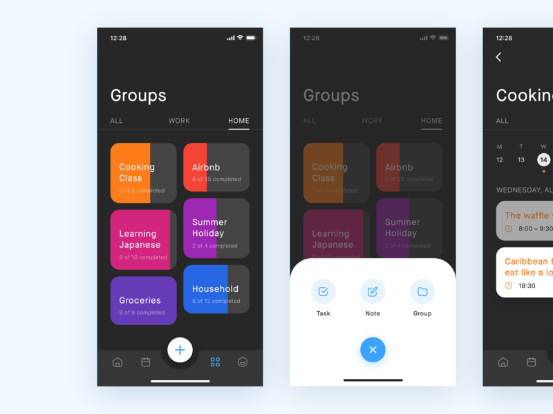 Task Management App – Groups tracker track progress indicator progress bar progressbar group projects project tabbar tab bar ios12 work iphonexs time management task todo groups project management productivity