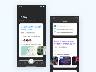 Task Management App – Today overview day timeline tab bar tabbar task management time management iphonexr iphonexs business homecreen taskmanagement to-do todo task