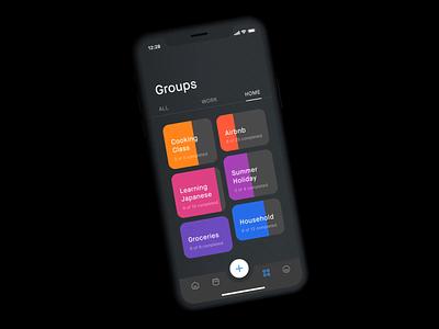 Task Management App – Groups progressbar progress bar iphone xs max iphone xs iphone x iphonexs iphonex apple tasks todo app to do todo work goals goal tracker task management taskmanagement task