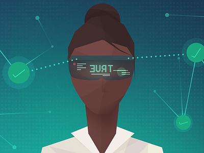 Fact Checker ar futuristic illustration