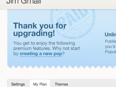 Upgrade Welcome upgrade stamp confirm