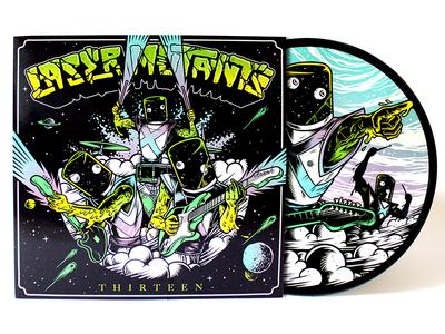 Laser Mutants - Thirteen LP vinyl design sleeve space illustration packaging art direction