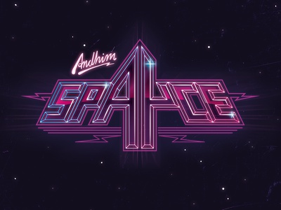 Andhim -Spayce cover space cover music 80s neon type