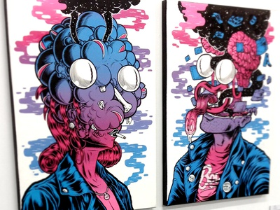 TOO YOUNG TO CHOOSE IT   TOO OLD TO LOSE IT painting acrylic exhibition deedeekid coskan gradient