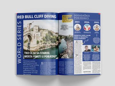 Red Bull Cliff Diving magazine editorial design