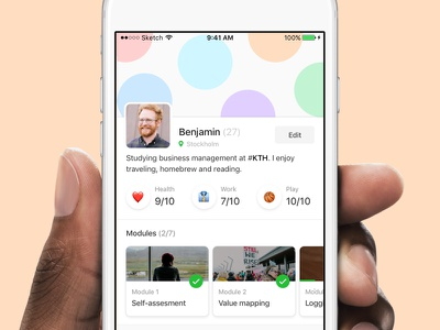 Profile  app work health course minimal ux ui ios