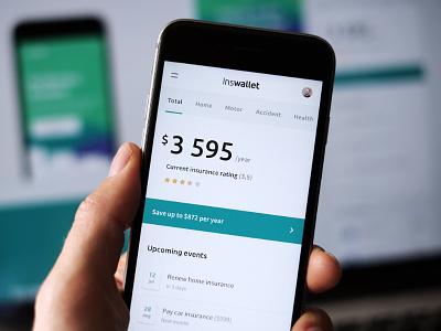 Inswallet dashboard finance minimal ux ui app web mobile fintech insurance