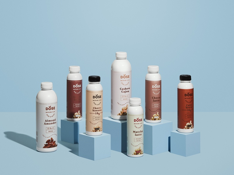Dose Nutmilks - Packaging beverages nutmilks product photography packaging design packaging typography design