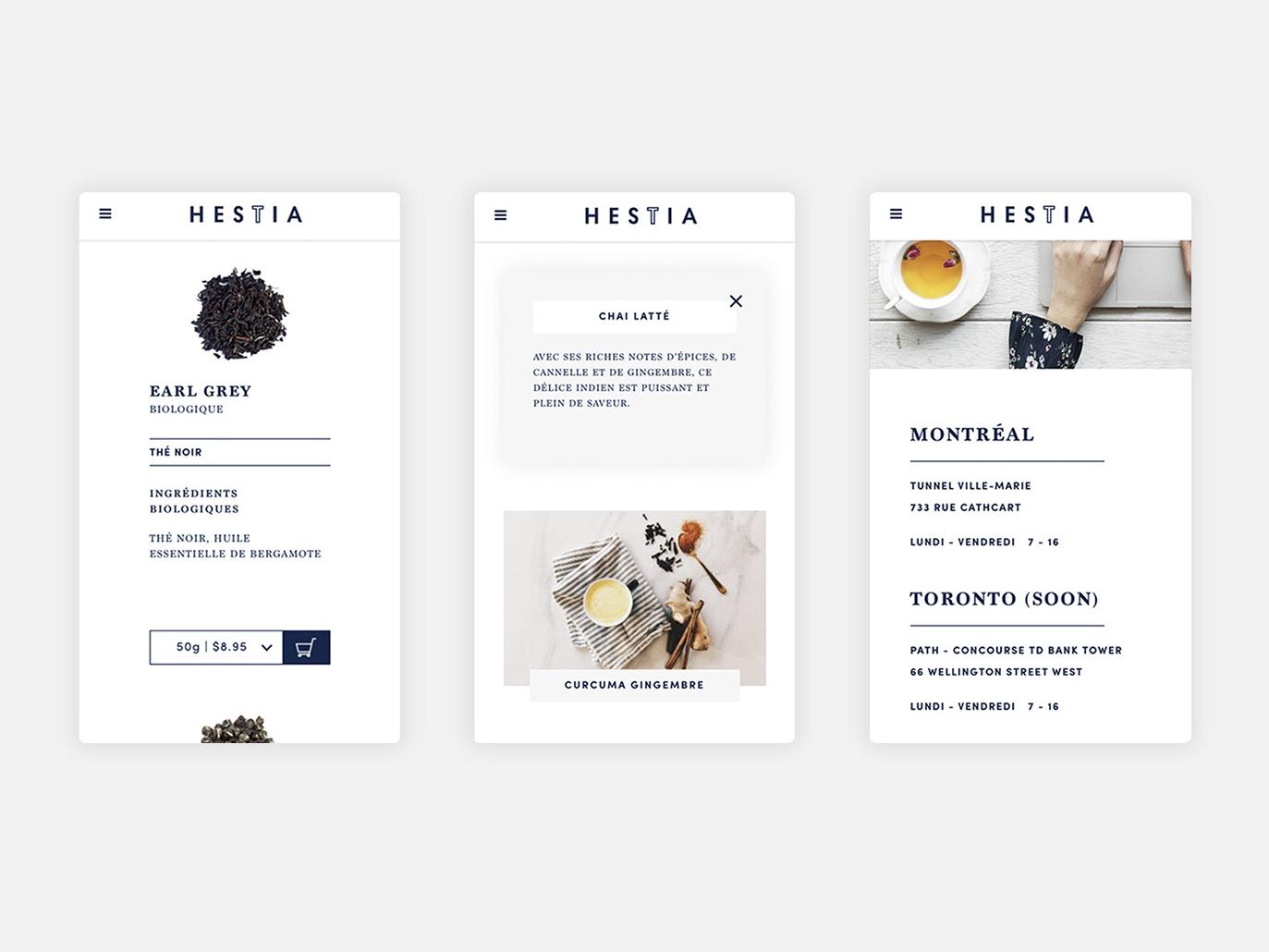 Hestia - Mobile website custom e-commerce digital website art direction ui mobile webdesign