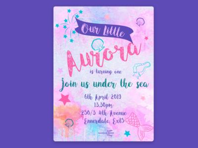 Aurora Birthday Invite