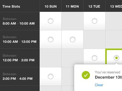 Calendar calendar interface reserve confirmation carousel date pop up tool tip