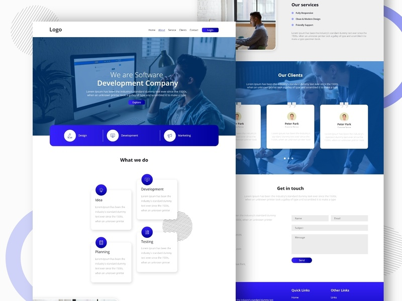 Landing page concept gradient website design webpage webpage design developing software design software company it company abstact ux ui creative homepage blue clean typography minimal landing page web website