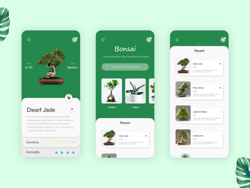 Bonsai tree app pot plant creative branding web icon gradient list view tree dashboard best minimal nature ios android app app typography landing page green bonsai