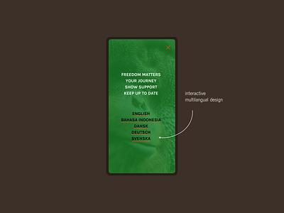 #OrangutanFreedom interactive language menu ngo campaign design user interface website webdesign uidesign uiux orangutan front end development front end dev user experience design ux branding ui freelance designer freelance designer design berlin freelance