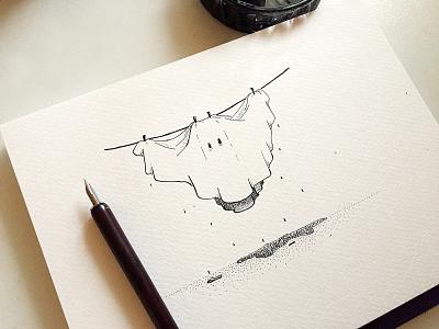 Hang in there! comic cartoon artwork ink drawing design illustration dip pen ghost halloween inked