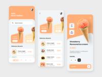 Ice-cream store app e-commerce ui shop ice cream product design mobile dark app design animation ui ux typography app ui design ios illustration