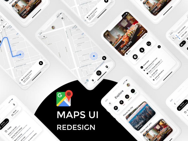 Google Maps Minimal UI Redesign redesign google google maps travel maps map ui ux adobexd adobexduikit branding typography ui illustration app design ios app ui ui animation ui design illustration