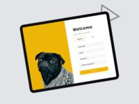 Pet Lovers Registration form minimal illustration ios ipad form design ux ui app