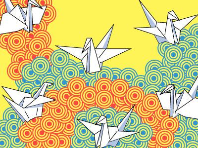 Paper Flight vector illustration paper crane origami