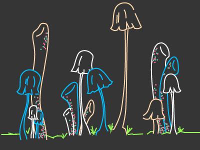 Glowie Shrooms vector illustration mushrooms lines