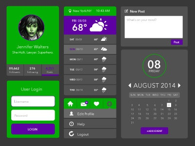 Superhero Themed UI Design – She-Hulk ui superhero hulk green purple