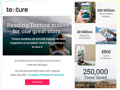 Texture - Earth Day layout design email design email earthday
