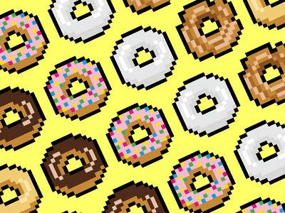 16-Bit Snacks - Donuts pixel art food vector icons yum 16-bit donuts