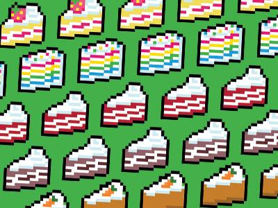 16-Bit Snacks - Cakes pixel art cake gaming 16-bit vector