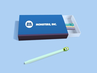 Monsters Inc. matchbox illustration vector flat pixar