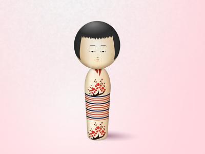Kokeshi dolls icon illustration