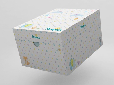 P&G Japan - Pampers gift box cinema 4d package design kids package 3d art