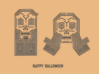 Happy Halloween skeleton skull illustration halloween