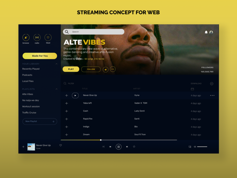 Web streaming concept webdesign design web design ux ui music web