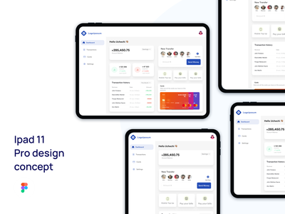 Dashboard design concept. fintech banking finance dashboard tab ipad app ui ux web design