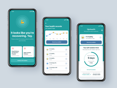UpHealth. COVID-19 screening app branding uidesign health app covid19 healthcare ui design product design mobile design mobile app ios14