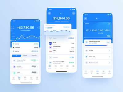 Cinch. Mobile banking for Business product design mobile invite figma typography branding fintech finance bankapp bank blue design app vector logo web uidesign ux ui concept