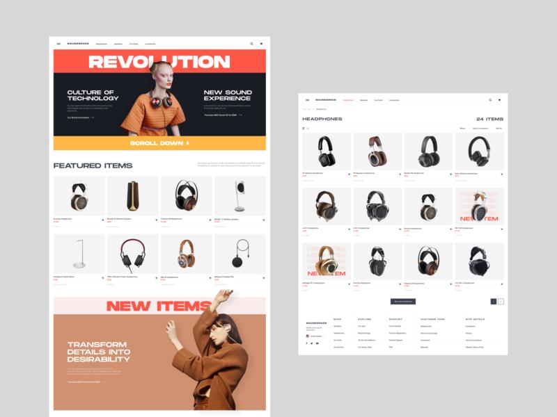 SoundSpace. Hi-End audio store e-commerce desktop music minimal grid store site shop web ux ui headphones