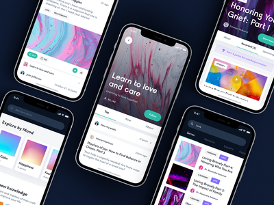 Mine'D. Mindful social application typography screen product ux ui mobile design design mobile branding logo streaming clubhouse chat video blur gradient purple community