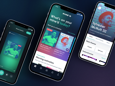 Mine'D. Mindful social application mobile app design mobile app live streaming clubhouse gradient blur mobile product design concept uidesign app fashion typography branding ux ui design